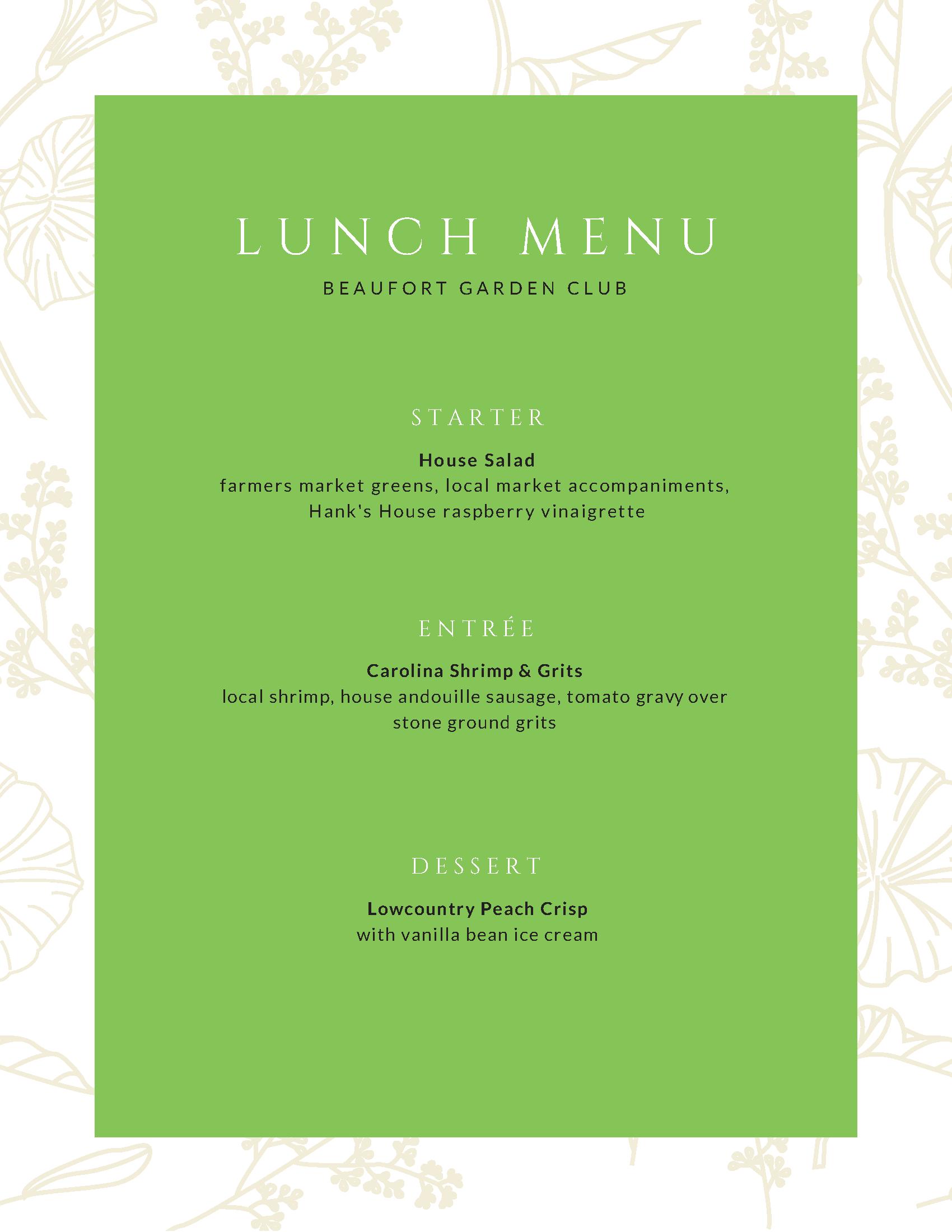 Beaufort Garden Club Lunch Menu
